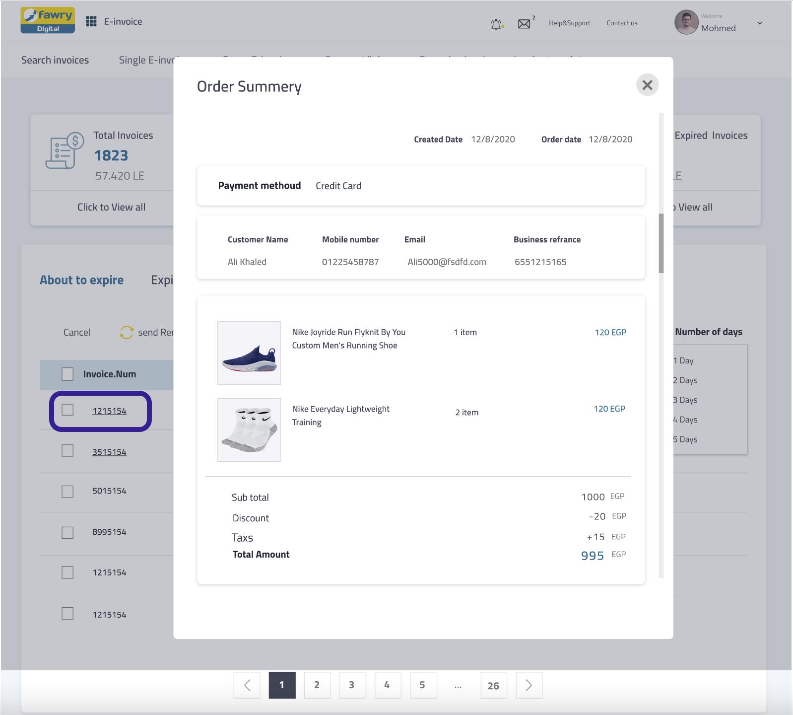 Select E-invoice Dashboard