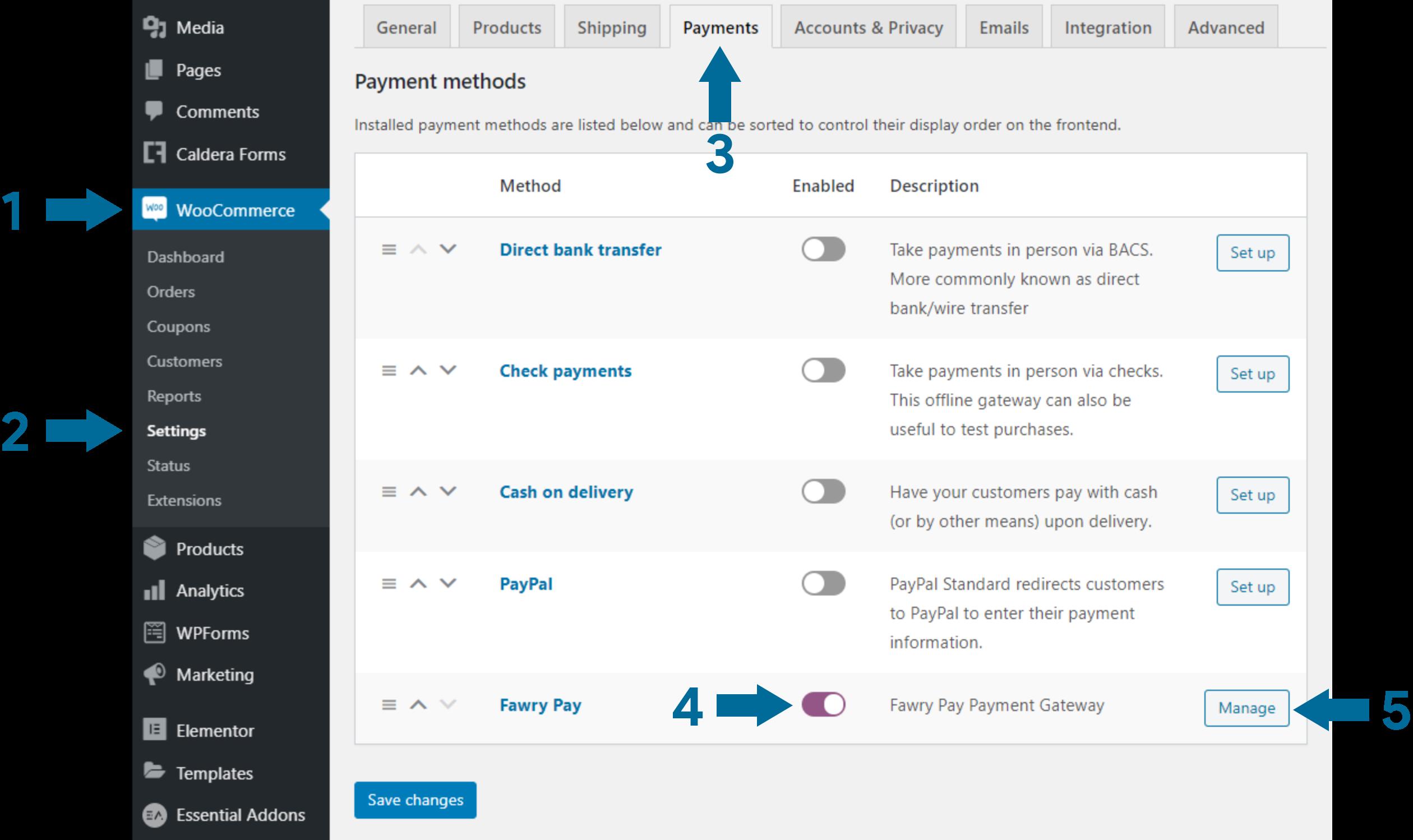 WooCommerce configuration settings screenshot