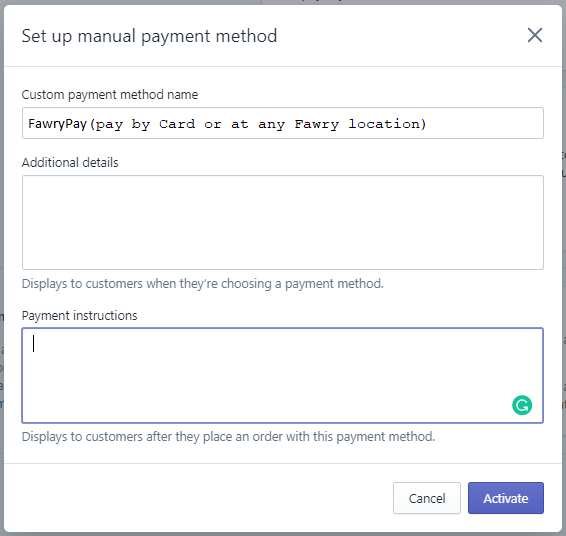 Shopify Create Payment Method